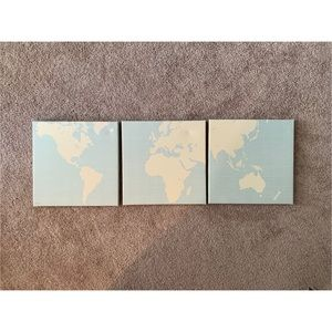 3 set canvas of the world map